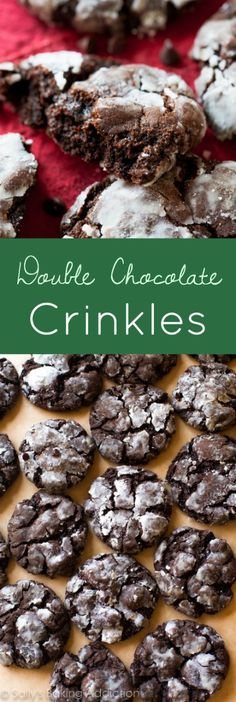 Here is my recipe for undoubtedly fudgy classic crinkle cookies. With a little extra chocolate for good measure! Chocolate Crinkle Cookies, Chocolate Crinkles, Double Chocolate Cake, Chocolate Chips, Chocolate Christmas Cookies, Chocolate Heaven, Oatmeal Cookies, Chocolate Lovers, Chocolate Desserts