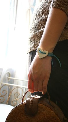 Bohemian Bracelet White Porcelain Heart and Turquoise Leather Strap Boho Stylish Chic via Etsy.