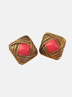 Vintage Red Gem Gold Stud Earrings