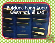Store 'Incomplete Work' folders in hanging pocket chart.