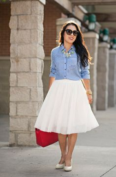 cute & little blog | petite fashion | gingham shirt, white tulle skirt, statement necklace, red tote