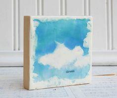 DREAM Encaustic Photo Painting  White Clouds Blue by susannajarian