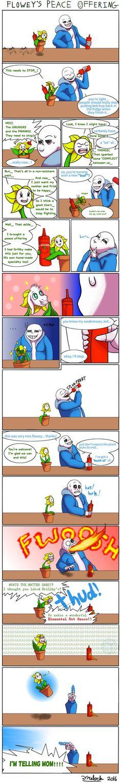 Flowey, don't piss off the skeleton! xD