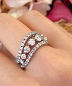HEARTS ON FIRE Right Hand Diamond Ring in 18K White Gold.