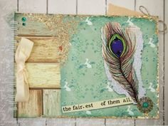 Large A4 Handmade Scrapbook Album or Journal, Vintage Peacock Feather £13.50