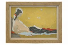 Oil painting of reclining woman by Henri Seigle (1907-1995). France, circa 1980