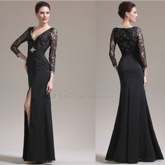 Black Long Sleeve Bridesmaid Dresses   Dresses Party Lace Long...
