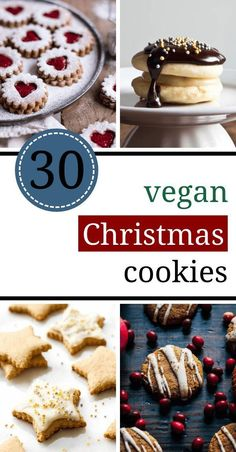 The best 30 vegan Christmas cookie recipes (egg-free, milk-free), the best . - The Best 30 Vegan Christmas Cookie Recipes (Egg Free, Dairy Free), The Best 30 Vegan Christmas Cook - Vegan Christmas Cookies, Christmas Baking, Christmas Parties, Christmas Treats, Christmas Recipes, Holiday Treats, Holiday Cookie Recipes, Holiday Desserts, Food Cakes