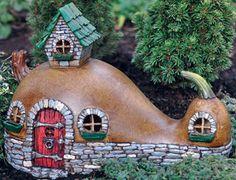 Fairy Garden Miniatures Resin Fairy Village Crookneck Cottage Fairy Home Fairy Garden Houses, Gnome Garden, Fairy Gardening, Indoor Gardening, Fairy Village, Painted Gourds, Fairy Doors, Fairy Garden Accessories, Gourd Art