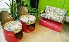 outdoor furniture made of metal barrels