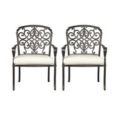 Hampton Bay, Edington Patio Dining Chair with Bare Cushion (2-Pack), 131-012-DC2-NF at The Home Depot - Mobile