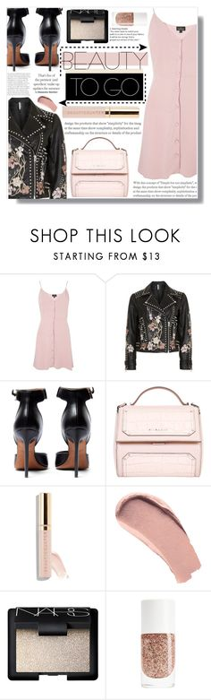 """""""• BEAUTY TO GO •"""" by brenndha ❤ liked on Polyvore featuring Topshop, Givenchy, Beautycounter, Burberry and NARS Cosmetics"""