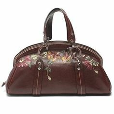 c63a6d448 Christian Dior Brown Leather Romantic Flowers Frame Tote Bag
