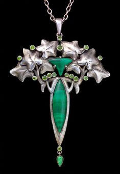 This is not contemporary - image from a gallery of vintage and/or antique objects. ART NOUVEAU Pendant Silver Malachite Demantoid Garnet