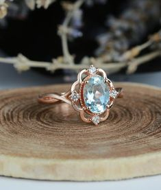 Aquamarine engagement ring vintage Rose gold oval cut Antique Delicate diamond Half eternity Wedding women Promise Anniversary gift for her – Art Deco Engagement Ring Morganite Engagement, Deco Engagement Ring, Rose Gold Engagement Ring, Vintage Engagement Rings, Diamond Wedding Bands, Diamond Rings, Aquamarin Ring, Ring Verlobung, Pear Ring