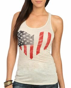 American Flag Destroyed Tank - Tops