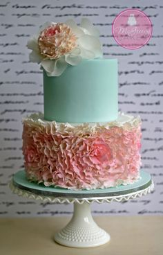 Lovely cake. Shower. Ruffles. Pink + aqua.