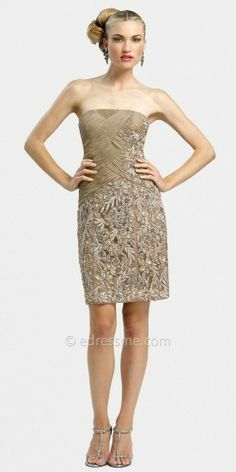 This classic strapless cocktail dress by Sue Wong has square neckline with an asymmetrical ruched bodice. The beaded de....Price - $478.00 - C87itvME