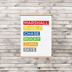 Instantly download this print in our Etsy shop! They're all good pups - Marshall, Rubble, Chase, Rocky, Zuma, Skye. For your little Paw Patrol fanatic. #digital #download #downloadable #birthday #invite #party #favor