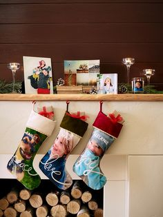 Personalize your own Christmas stockings for the mantel. Fill your home with holiday home accents and custom curved prints. | #ShutterflyHoliday