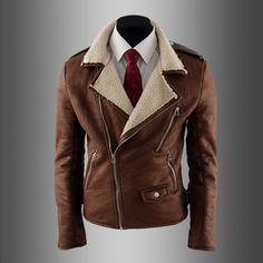Vintage deri ceket erkekler kuzu kürk coat toplama yaka erkek deri ceket erkek slim fit deri giyim erkek kürk kahverengi(China (Mainland))