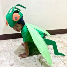 Grasshopper Costume from Recycled Materials