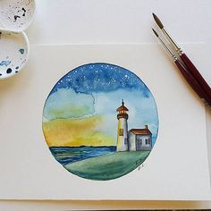 Original watercolor painting Lighthouse watercolor Small wall