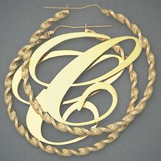 10K 4mm Big Initial Twisted Hoop Earring 3 Inch Just like Cassie's earrings on the Official Girl video