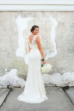 Lace Wedding Gown Traditional Dress Gold Belt Romantic Back White Rose Bouquet
