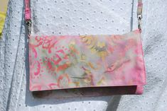 iPhone 7 6/6Plus Cell Phone Purse Cross Body Shoulder Bags Zipper Pocket Soft Pink Green  Batik by mylifeinfabric on Etsy