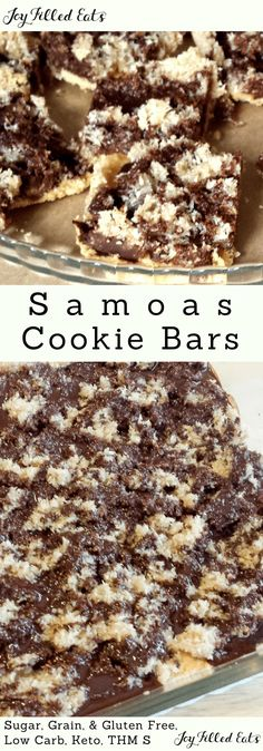 These Easy Samoas Cookie Bars take the cake (or the cookie) when you craving their namesake. With a shortbread crust, coconut, caramel, and chocolate my Samoas recipe is delicious with every bite. Samoas Recipe for Cookie Bars - Low Carb, Keto, THM S, Gluten-Free, Grain-Free, Sugar-Free