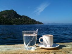 Turkish coffee with gum stick in the water (tastefull idea)