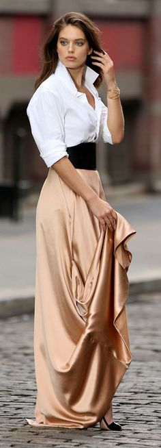 Classic white shirt with a satin skirt