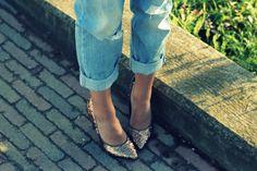 boyfriend jeans & sequin heels