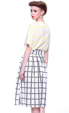 Yellow Short Sleeve Plaid Loose Top With Skirt