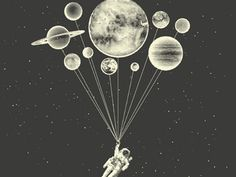 Space Balloons; Fossil Tee  by Jonathan Schubert