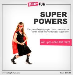 Use your shopping Super Powers to create a superhero look. Prizes for Most Liked, Editor's Choice, and Top New Stylist. #fashion #contest #outfit #style