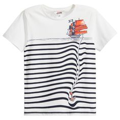 Boys White T-Shirt with Breton Stripes & Pirate Ship, Junior Gaultier, Boy