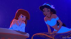 Jasmine offers Ariel a chance to see a Whole New World and a Magic Carpet Ride. I Want To Be A Whole New Part Of Your World by Rapunzel-Magic-Frost Disney Nerd, Disney Marvel, Disney Memes, Disney Fan Art, Disney Girls, Disney Love, Disney Magic, Disney And Dreamworks, Disney Pixar