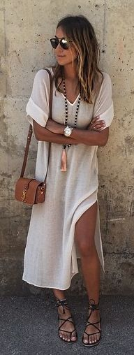 **** STITCH FIX May 2017 styles! Love this beautiful effortless off white sheath #style dress. #Summer styled with ankle wrap #sandal and cross body. Just gorgeous!! Get styles just like these from Stitch Fix tod