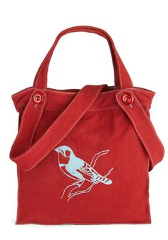 One Way Ticket Bag in Bird by Effies Heart - Red, Blue, Print with Animals, Scholastic/Collegiate, Eco-Friendly, Cotton, Travel, Beach/Resort