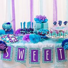 Sweet 16 Centerpieces – Datrav Homes. Purple and Blue Candy Buffet Ideas . Purple and Blue Candy Buffet Ideas - Party CityBirthday Party Ideas . Sweet 16 Birthday, Birthday Parties, Purple Birthday, Birthday Candy, 17th Birthday, Purple Candy Buffet, Jasmin Party, Sweet 16 Themes, Diy Sweet 16 Decorations