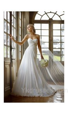 Long Chiffon Sleeveless Empire Wedding Dresses ykdress6971. Beautiful.