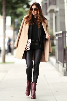 Camel coat and givenchy boots