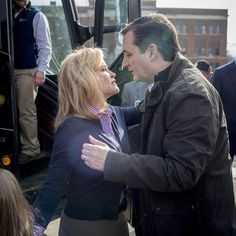 Texas Sen. Ted Cruz won the Iowa Republican caucuses night with around 28% of the vote cementing his status as the conservative front-runner and top rival to Donald Trump in the first contest of the 2016 presidential election.In this photograph shot at a campaign stop on Feb. 1 2016 at the Greene County Community Center in Jefferson Iowa Cruz embraces his wife Heidi before boarding the campaign bus. Read more about tonights results on TIME.com.  Photograph by Natalie Keyssar…