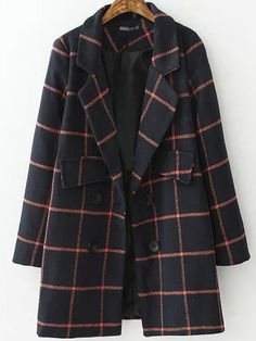 Shop Navy Red Lapel Plaid Double Breasted Coat online. SheIn offers Navy Red Lapel Plaid Double Breasted Coat & more to fit your fashionable needs.