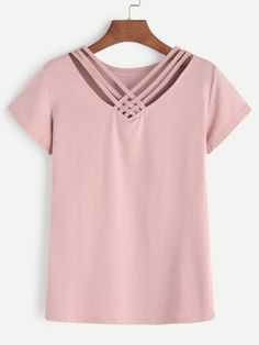 Shop V Neck Lattice Front Tee online. SheIn offers V Neck Lattice Front Tee & more to fit your fashionable needs. Dress Neck Designs, Kurti Neck Designs, Blouse Designs, Girls Fashion Clothes, Fashion Outfits, Minimal Dress, T Shirt Crop Top, Sewing Blouses, Girly Outfits