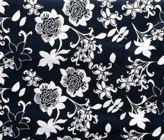 Baumwolle Blumen naviblau