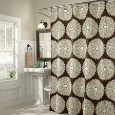 M. Style Pop Shower Curtain in Chocolate - $29.99 from Walmart showers, pop shower, chocolates, bathrooms, bathroom idea, shower curtains, homes, blue bathroom, style pop
