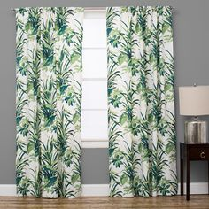 Bermuda Cotton Palm Leaf Green Curtain Panel (84010 IQD) ❤ liked on Polyvore featuring home, home decor, window treatments, curtains, cotton drapery panels, bright green curtains, green leaf curtains, cotton curtains and cotton window panels